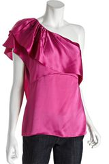 BCBGMAXAZRIA Pink Satin Ruffled One Shoulder Blouse - Lyst