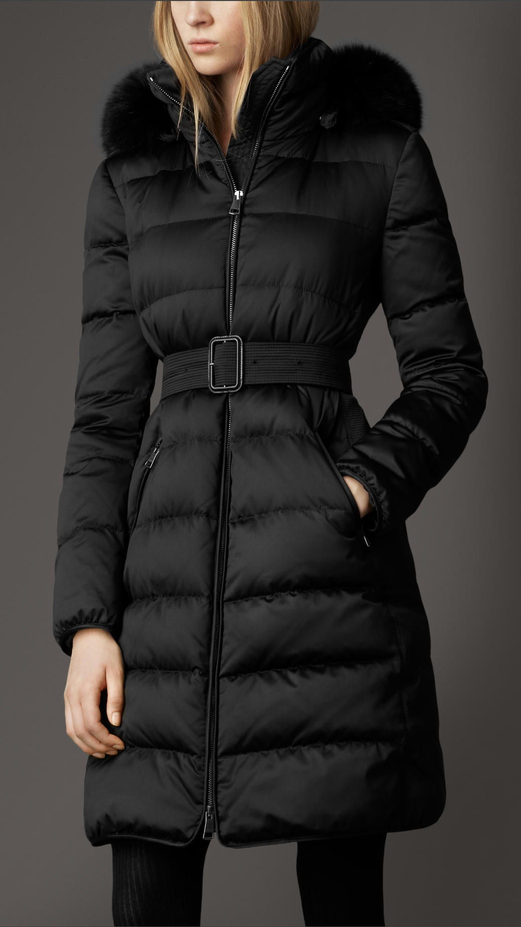 Burberry Fur Trim Puffer in Black | Lyst