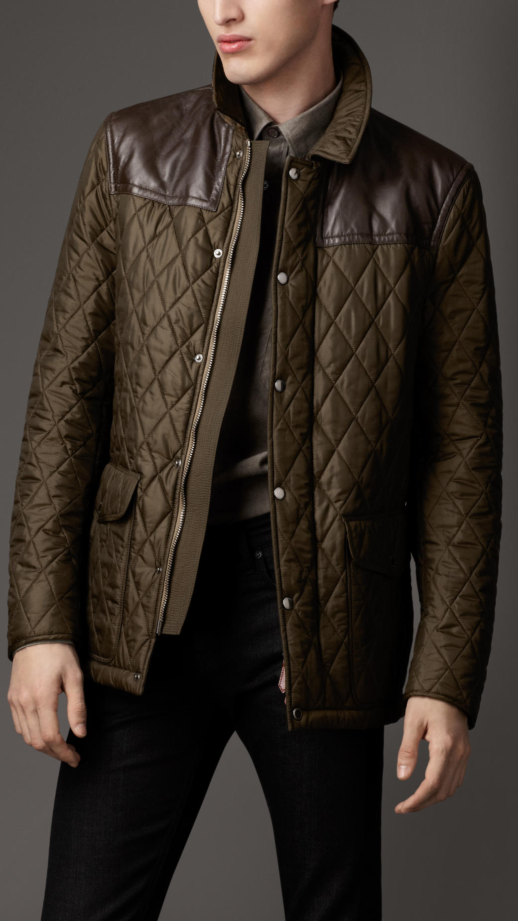 Burberry Leather Panel Quilted Jacket In Green For Men Lyst