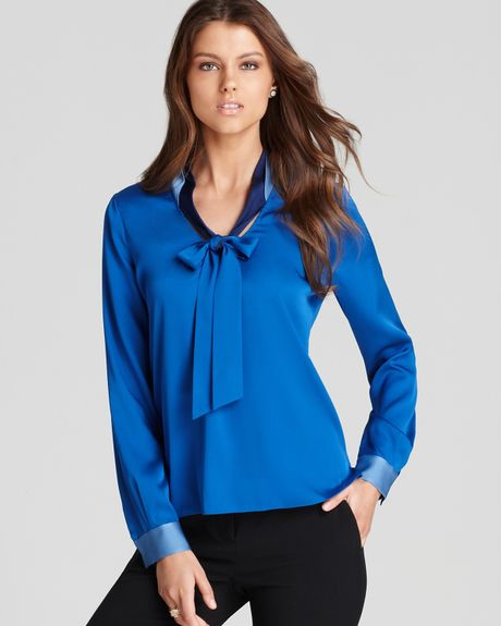 elie tahari rubin tie neck blouse in blue bayberry blue