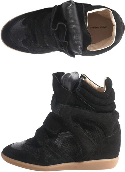 Isabel Marant Bazil Wedge Trainers in Black - Lyst