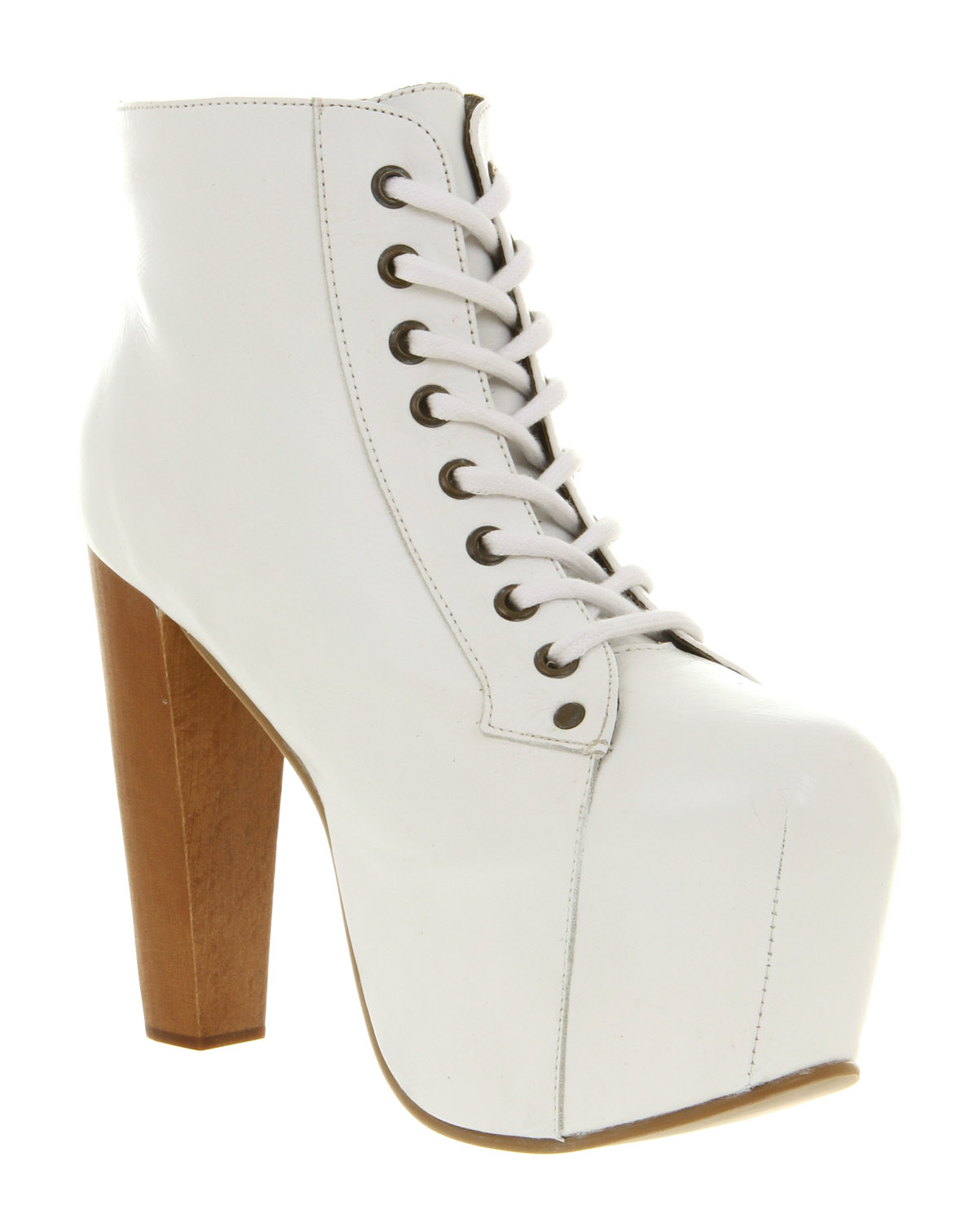Jeffrey campbell lita platform ankle boot white leather in white lyst - Jeffrey campbell lita platform boots ...