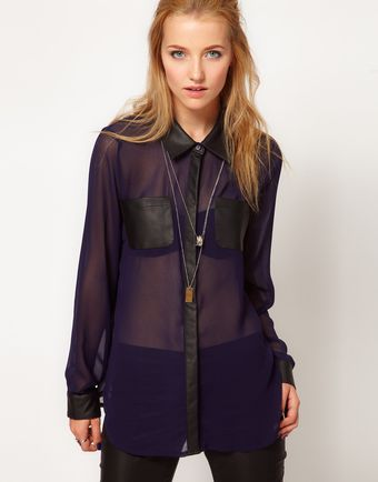 Stylestalker Night Light Sheer Chiffon Blouse - Lyst