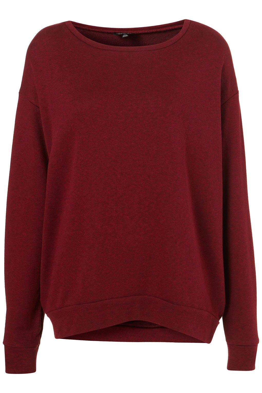 topshop basic curve hem sweater in purple burgundy lyst. Black Bedroom Furniture Sets. Home Design Ideas
