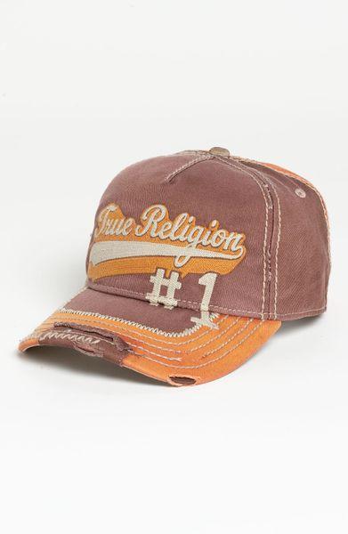true religion script baseball cap in brown for men lyst. Black Bedroom Furniture Sets. Home Design Ideas