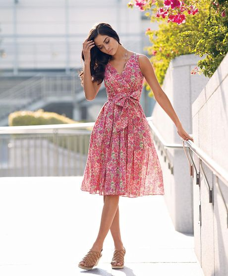 Brooks Brothers Liberty Print Cotton Dress In Pink Lyst