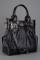 Burberry Leather Tote in Black - Lyst