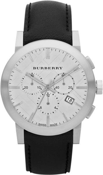 Burberry Womens Swiss Chronograph Black Leather Strap 42mm in Black