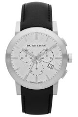 Burberry Womens Swiss Chronograph Black Leather Strap 42mm in Black - Lyst