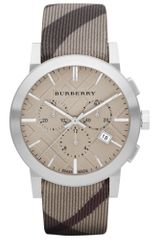 Burberry Womens Swiss Chronograph Smoke Check Fabric Strap 42mm in Brown (smoke) - Lyst