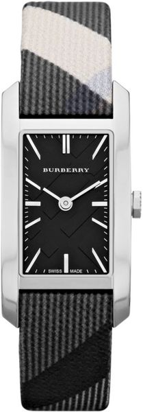 Burberry Womens Swiss Beat Check Fabric Strap 20mm in Black