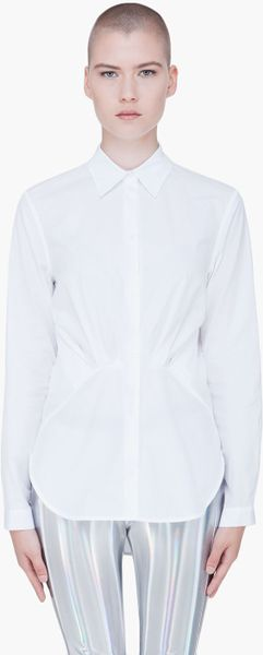 Hussein Chalayan White Pleated Front Blouse in White - Lyst