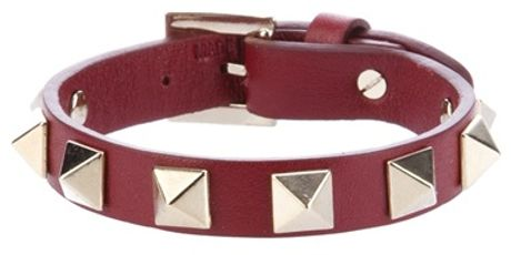 Valentino Studded Leather Bracelet in Red
