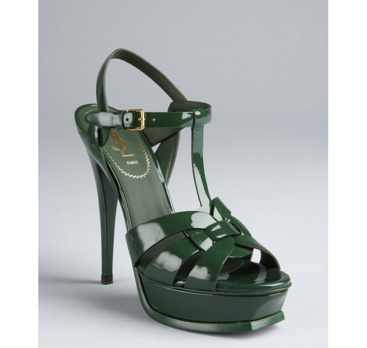 731cc5bd8b1 Saint Laurent Tartan Green Patent Leather Tribute 105 Tstrap ...