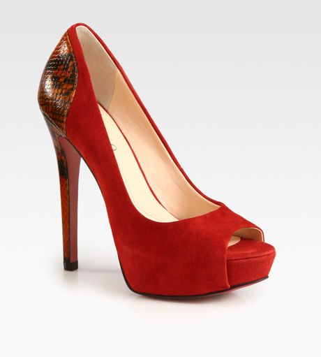 Boutique 9 Cary Suede and Embossed Leather Platform Pumps in Animal (red) - Lyst