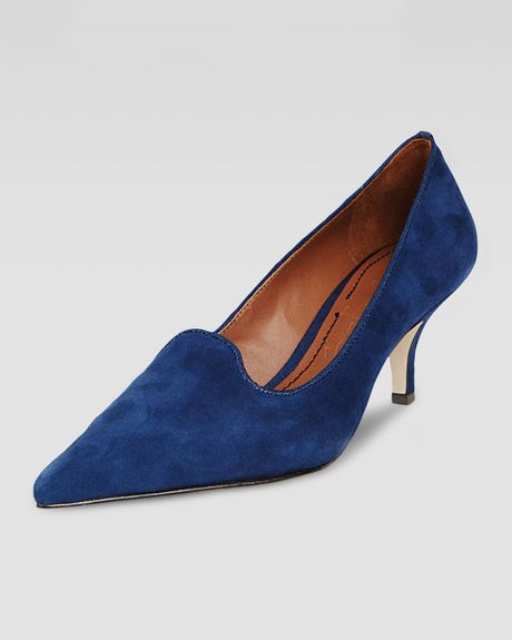 Elizabeth And James Clark Pointedtoe Suede Smokingslipper Pump Blue in Blue - Lyst