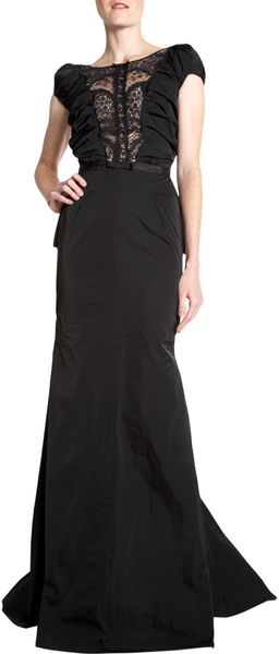 Nina Ricci Lace Neck Gown in Black - Lyst