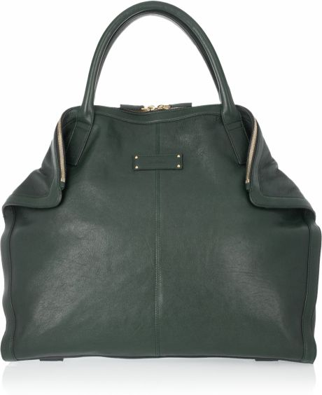 Alexander Mcqueen De Manta Leather Tote in Green - Lyst