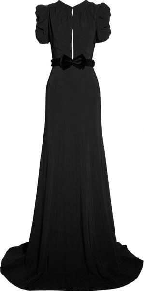 Burberry Prorsum Belted Crepe Gown in Black - Lyst
