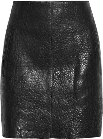 Carven Textured Leather Mini Skirt - Lyst