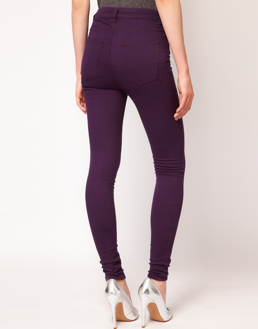 Just female Coloured High Waisted Skinny Jeans in Purple | Lyst