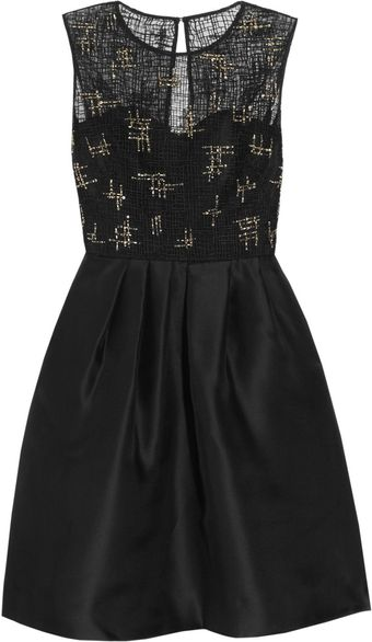 Lela Rose Beaded Lace and Organza Dress - Lyst