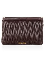 Miu Miu Matelassé Leather Clutch - Lyst