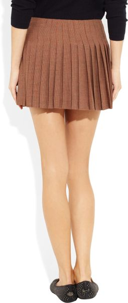 paul joe scottish pleated tweed mini skirt in