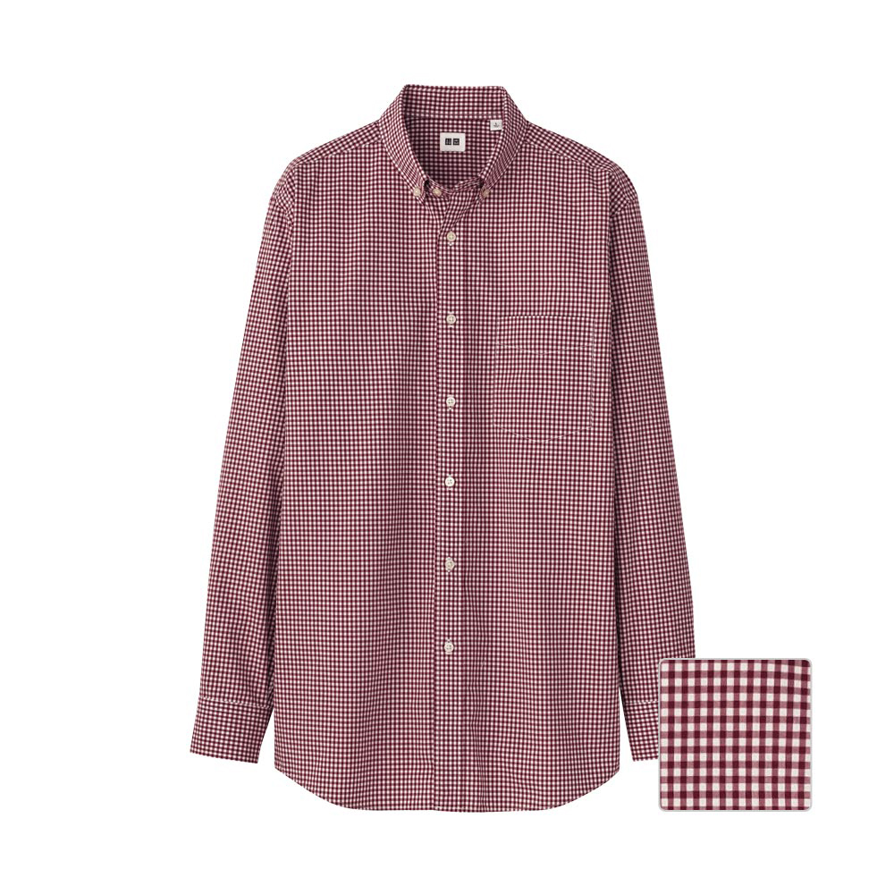 Uniqlo Men Extra Fine Cotton Broadcloth Check Long Sleeve