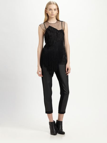 Alexander Wang Layered Tulle Embroidered Top in Black - Lyst