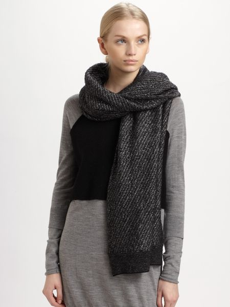 Alexander Wang Long Wool Scarf in Gray (black) - Lyst