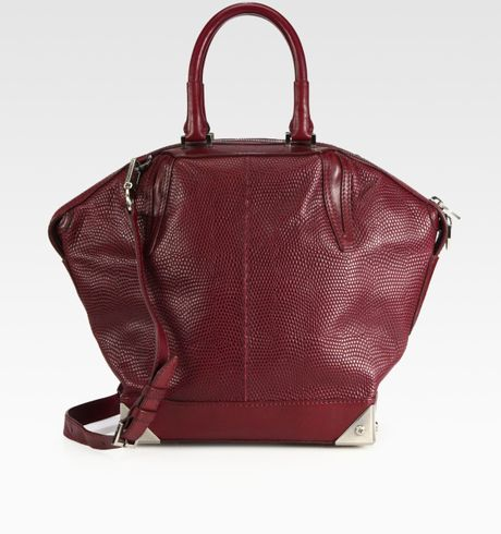 Alexander Wang Emile Prisma Snake Embossed Leather Satchel in Purple (burgundy) - Lyst