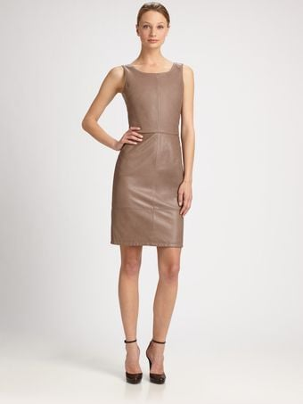 Armani Seamed Leather Dress - Lyst