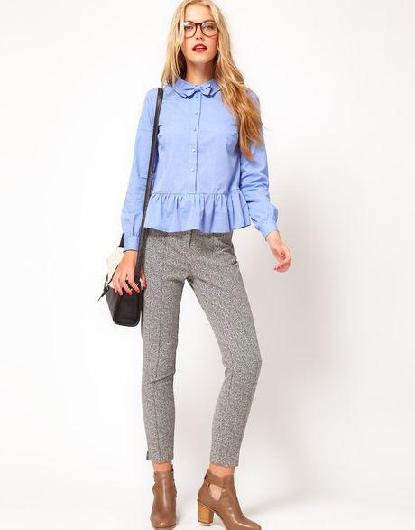 Asos Collection  Super Skinny Trousers in Herringbone Print in Gray (blackwhite)