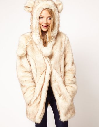 ASOS Collection  Faux Fur Hooded Coat with Ears - Lyst