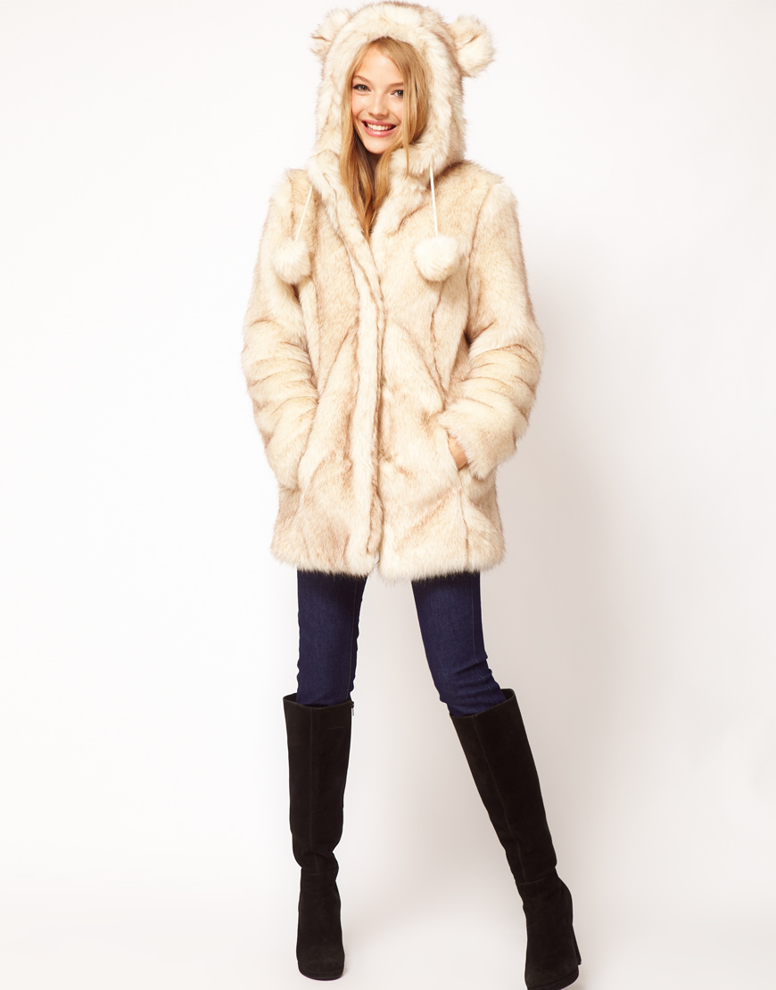 Asos collection Faux Fur Hooded Coat with Ears in Natural | Lyst