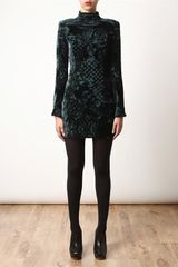 Balmain Devore Velvet Dress in Green - Lyst