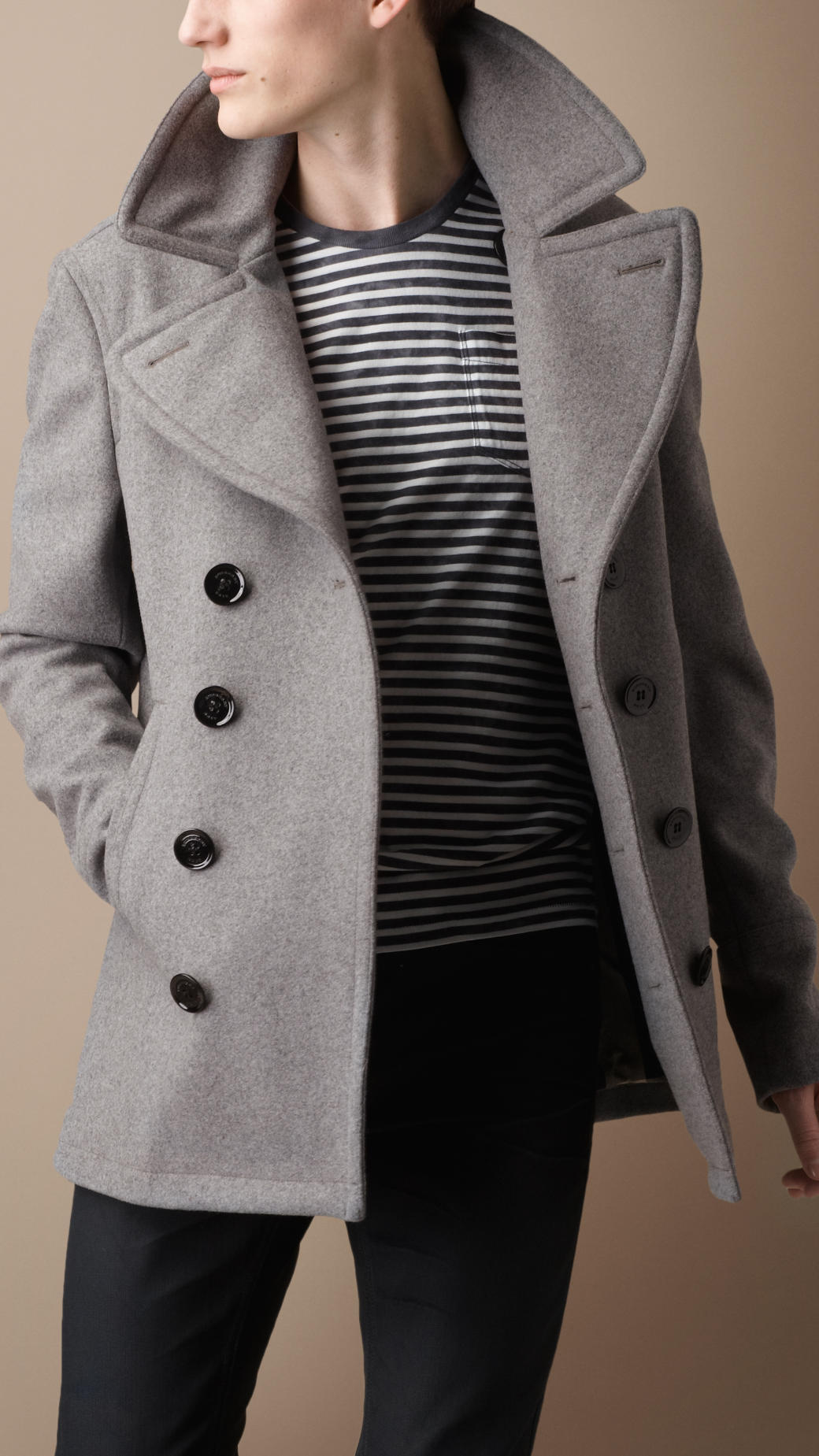 Burberry brit Wool Blend Pea Coat in Gray for Men | Lyst