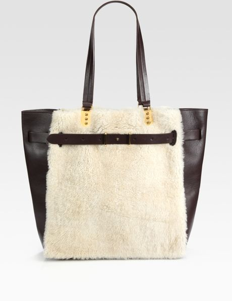 Christian Louboutin Sybil Large Shearling Leather Tote in Black (multi) - Lyst