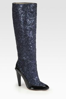 Diane Von Furstenberg Glitter and Patent Leather Kneehigh Boots - Lyst