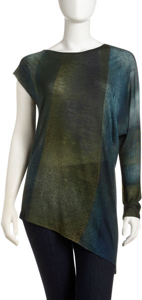 Helmut Lang Asymmetric Columnprint Shirt in Blue (bluemulti) - Lyst