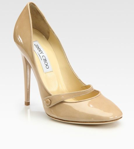 Jimmy Choo Taffy Patent Leather Pumps in Beige (nude) - Lyst
