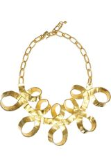 Kenneth Jay Lane Gold-Plated Ribbon Necklace - Lyst