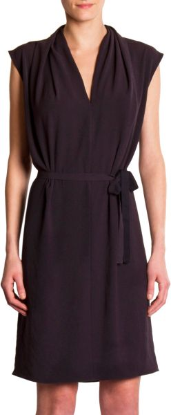 Lanvin VNeck Dress in Black - Lyst