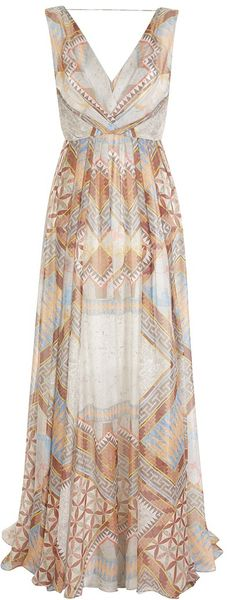 Matthew Williamson Decadent Tile Chiffon Pleated Chiffon Gown - Lyst