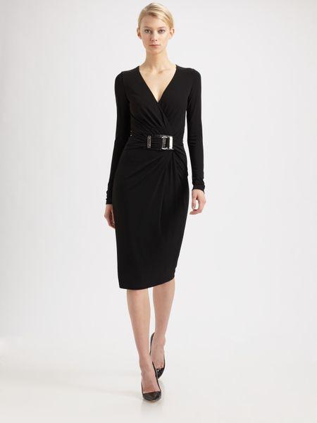 Michael Kors Jersey Buckle Dress In Black Lyst