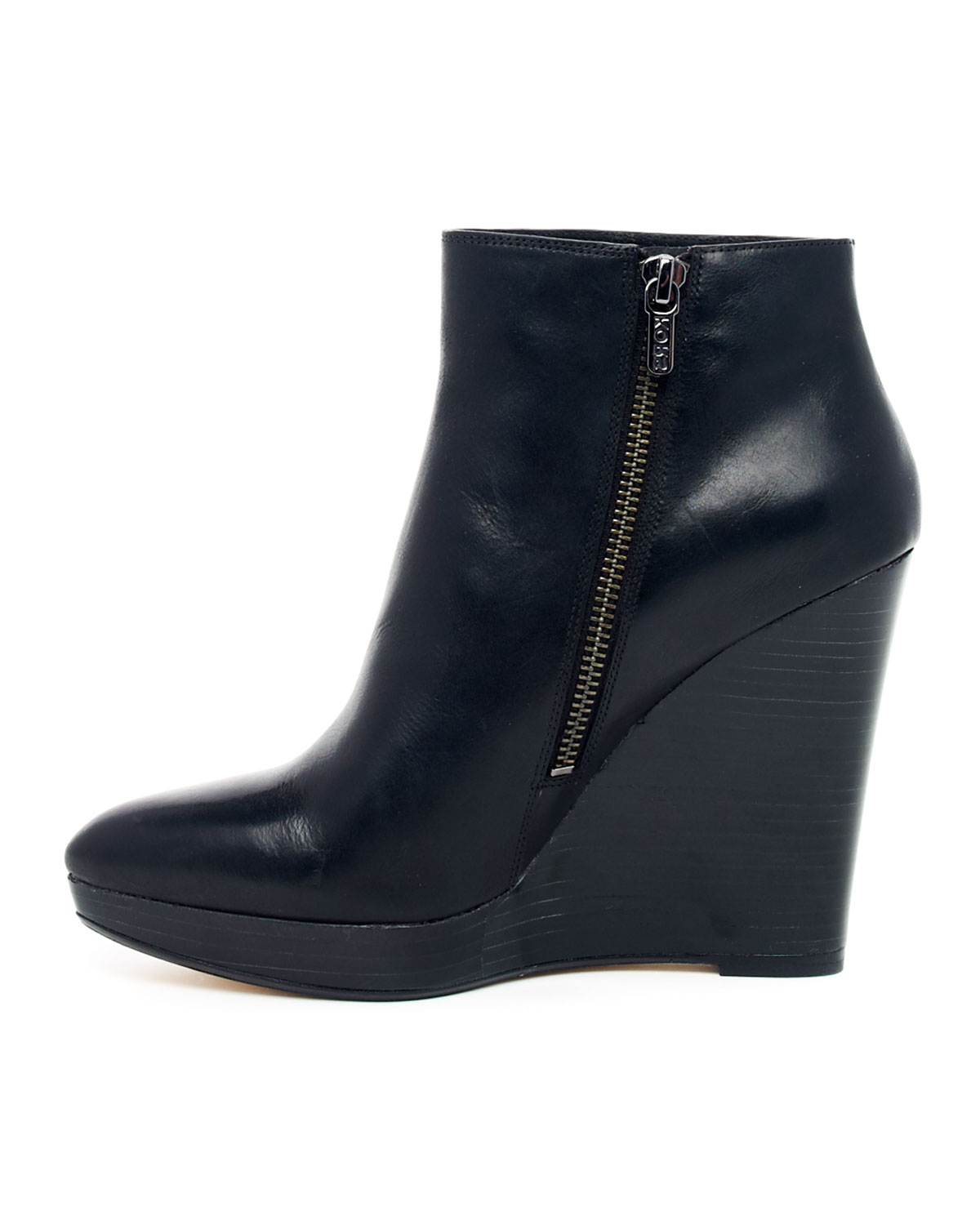 michael kors korsshailyn wedge ankle boot in black lyst