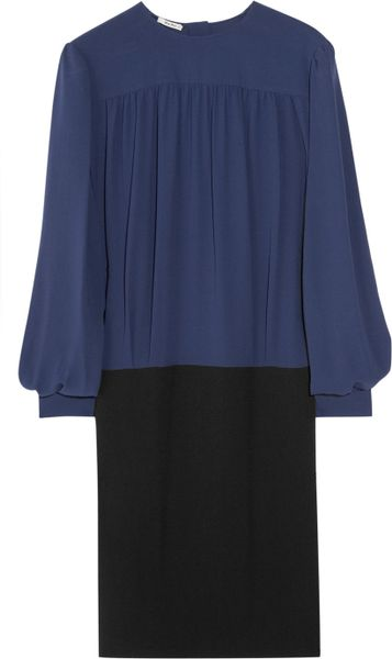 Miu Miu Twotone Silk and Crepe Dress in Blue (navy) - Lyst