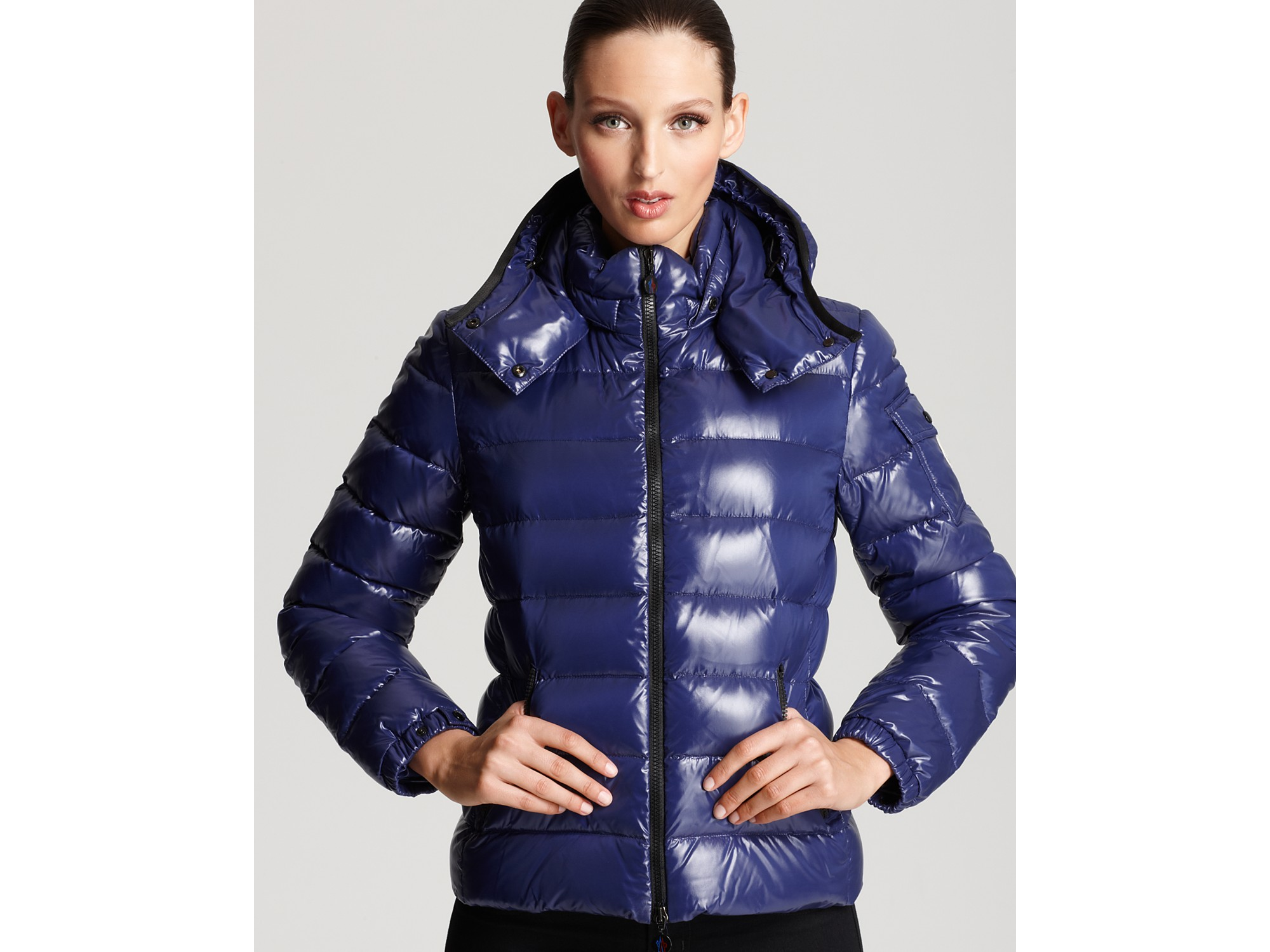 Lyst Moncler Bady Lacquer Hooded Short Down Coat In Blue