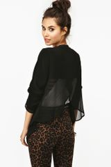 Nasty Gal Chiffon Wrap Blazer in Black - Lyst